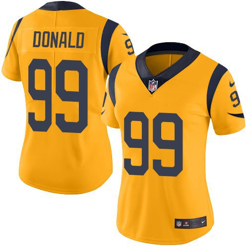 buy online 3c068 a3f27 Women's Los Angeles Rams #99 Aaron Donald yellow jersey