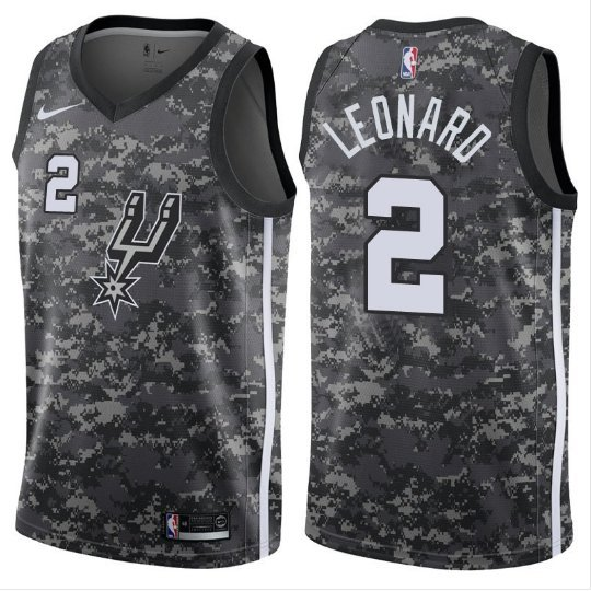 new arrivals 55059 cbf0d Men San Antonio Spurs Kawhi Leonard Black Basketball Jersey Camouflage