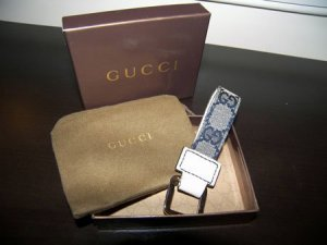 *sold* Gucci Monogram Canvas/Leather Key Ring