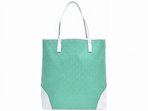 Gucci 263345 Signature Baby Blue & White GG Monogram Tote Handbag