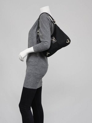 Gucci Black GG Canvas Abbey Medium D-Ring Hobo Bag