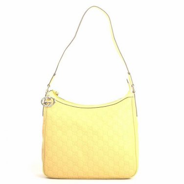 Gucci GG Guccissima Logo Embossed Leather Shoulder Bag - Yellow