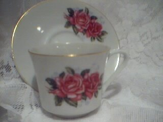 FTD Vintage China Rose Tea Cup and Saucer Set Pink Rose Shabby