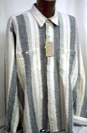 XXL casual Shirt  Cotton long sleeve stripe 2X 18+ NWT New #1003