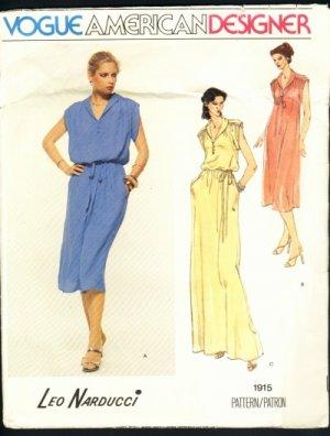 Vogue American Designer Leo Narducci pattern dress size 12