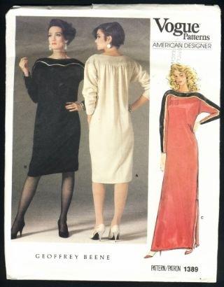 Vogue 1389 American Designer Geoffrey Beene Pattern vintage dress size 10