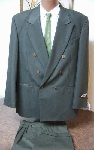 Pronti Phita 2pc Double Breasted Suit Olive large NEW 6 button