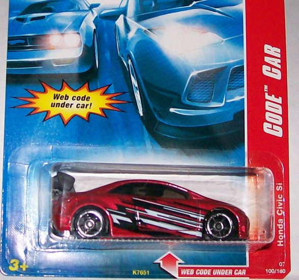 "HOT WHEELS 2007 CODE CAR #100 ""HONDA CIVIC SI"""