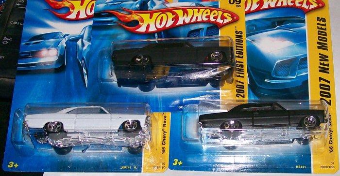 """HOT WHEELS 2007 NEW MODELS #9 """"66 CHEVY NOVA"""" 3 VARI. LOT"""