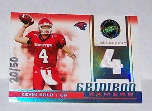 "PRESS PASS 2007 ""KEVIN KOLB"" #'D 20/50 GRIDIRON GAMERS JERSEY CARD"