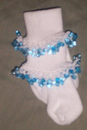 infant 6-12 months Girls Fancy Beaded Socks Light Blue shoe size 1-4