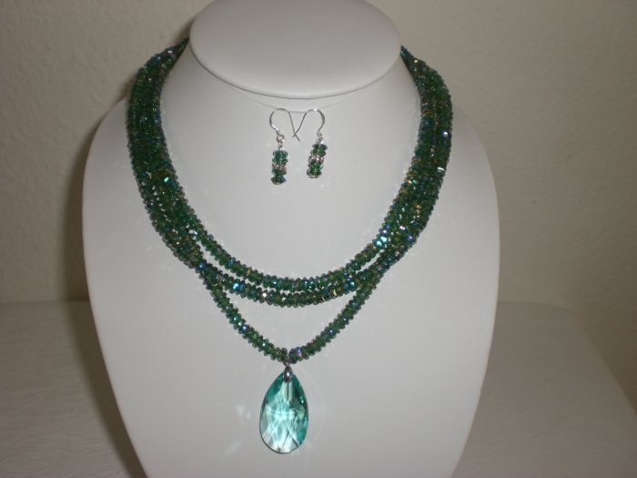 Swarovski Crystal Pendant Necklace w/ Matching Earrings