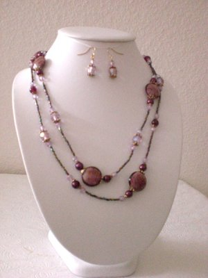 PURPLE CERAMIC BEAD NECKLACE W/ MATCHING EARRINGS