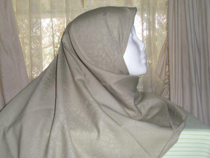 Olive green Damask hijab scarf