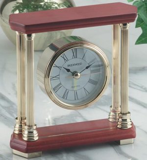 Desk Clock With Wood Top And Bottom