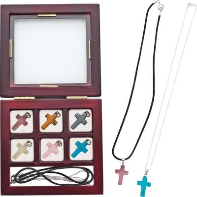 8pc Simulated Semiprecious Stone Cross Necklace Set
