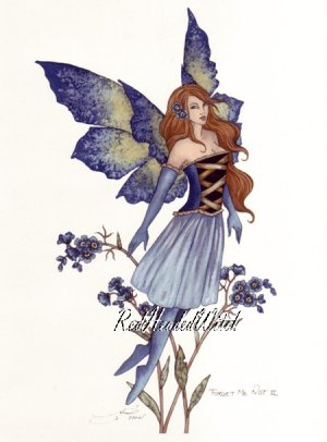 NEW AMY BROWN Print FORGET ME NOT 2  Flower FAIRY FAERY