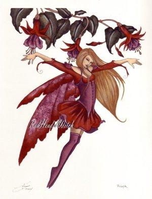 NEW AMY BROWN Print FUSHIA Fuchsia FLOWER Faery Fairy