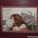 AMY BROWN Print ANGEL & HUMMINGBIRD angels MATTED Print