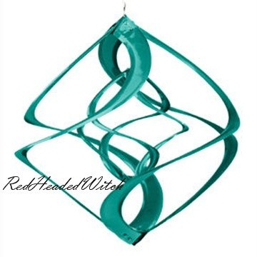GREEN DOUBLE WIND SPINNER chime twirler spinners GARDEN