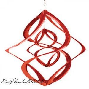 RED DOUBLE WIND SPINNER chime twirler spinners GARDEN