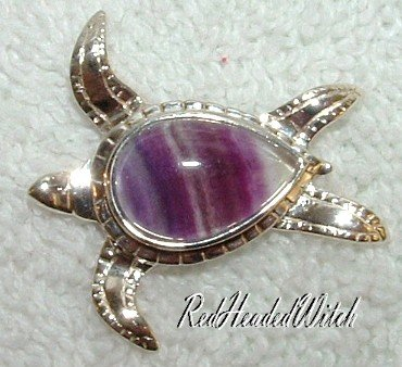 New STERLING SILVER FLUORITE SEA TURTLE PENDANT