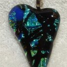 DICHROIC GLASS HEART PENDANT Black Aqua FUSED GLASS