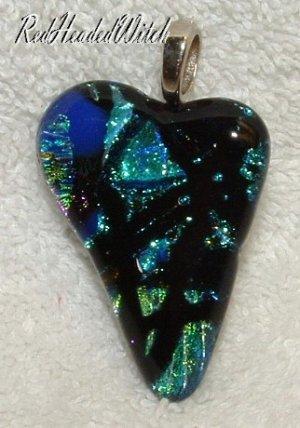 DICHROIC GLASS HEART PENDANT Black Aqua FUSED GLASS