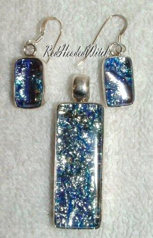 SILVER BLUE DICHROIC Glass 3 pc SET EARRINGS PENDANT