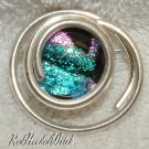 New STERLING SILVER DICHROIC GLASS Swirl PIN PENDANT