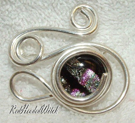 SWIRL PIN Pendant STERLING SILVER Pink Green Black New