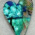 DICHROIC GLASS HEART PIN Black Aqua Blue FUSED GLASS