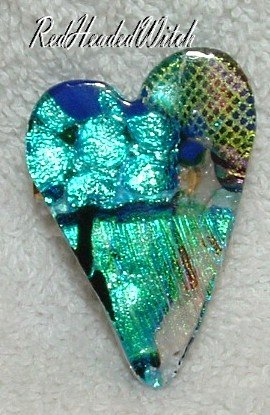 DICHROIC GLASS HEART PIN Black Aqua Blue FUSED GLASS