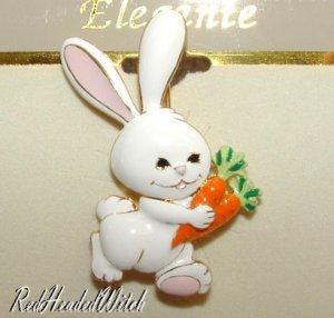 New SPRING EASTER BUNNY Carrots PIN BROOCH Enamel