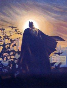 """Protrait Super Hero Batman Bats Oil Painting 12""""16...16"""