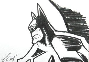 """c12 ACEO Batman Pop Art Original Drawing 2.5 x3.5"""" Free Shipping"""