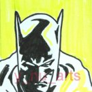 "c13 ACEO Batman in yellow Pop Art Original Drawing 2.5 x3.5"" Free Shipping"