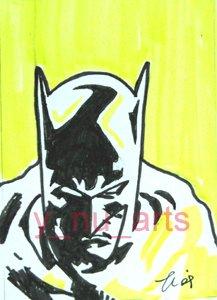 """c13 ACEO Batman in yellow Pop Art Original Drawing 2.5 x3.5"""" Free Shipping"""