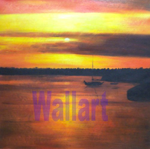 "037 Sunset Sea landscape Modern art Painting 20""20"