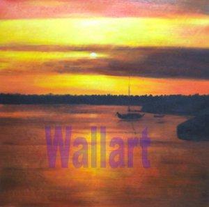 "037 Sunset Sea landscape Modern art Painting 20""20"