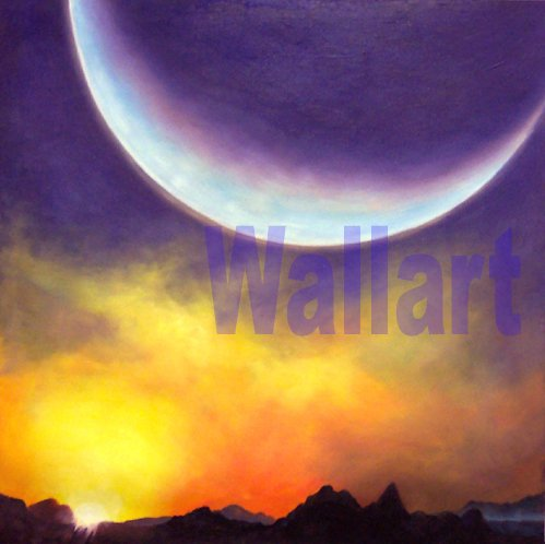 "039 Sunset Moon landscape Modern art Painting 20""20"