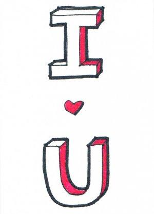 c49 I love U Aceo Original Graffiti pop art Hand Draw