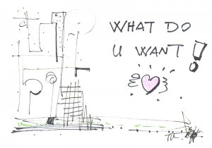 c34 Aceo Original Graffiti pop art Hand Drawing what do u want