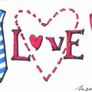 c58 Tie Love Rose Aceo Original pop art Hand Drawing