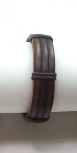 B005 Vintage Brown Horse Shoe Bondage Leather Bracelet