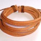 B016 New Natural Leather Bracelet Surfer Wristband Tan