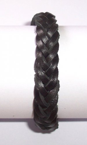 Black Braid Leather Bracelet Weave Wristband Sufer B026