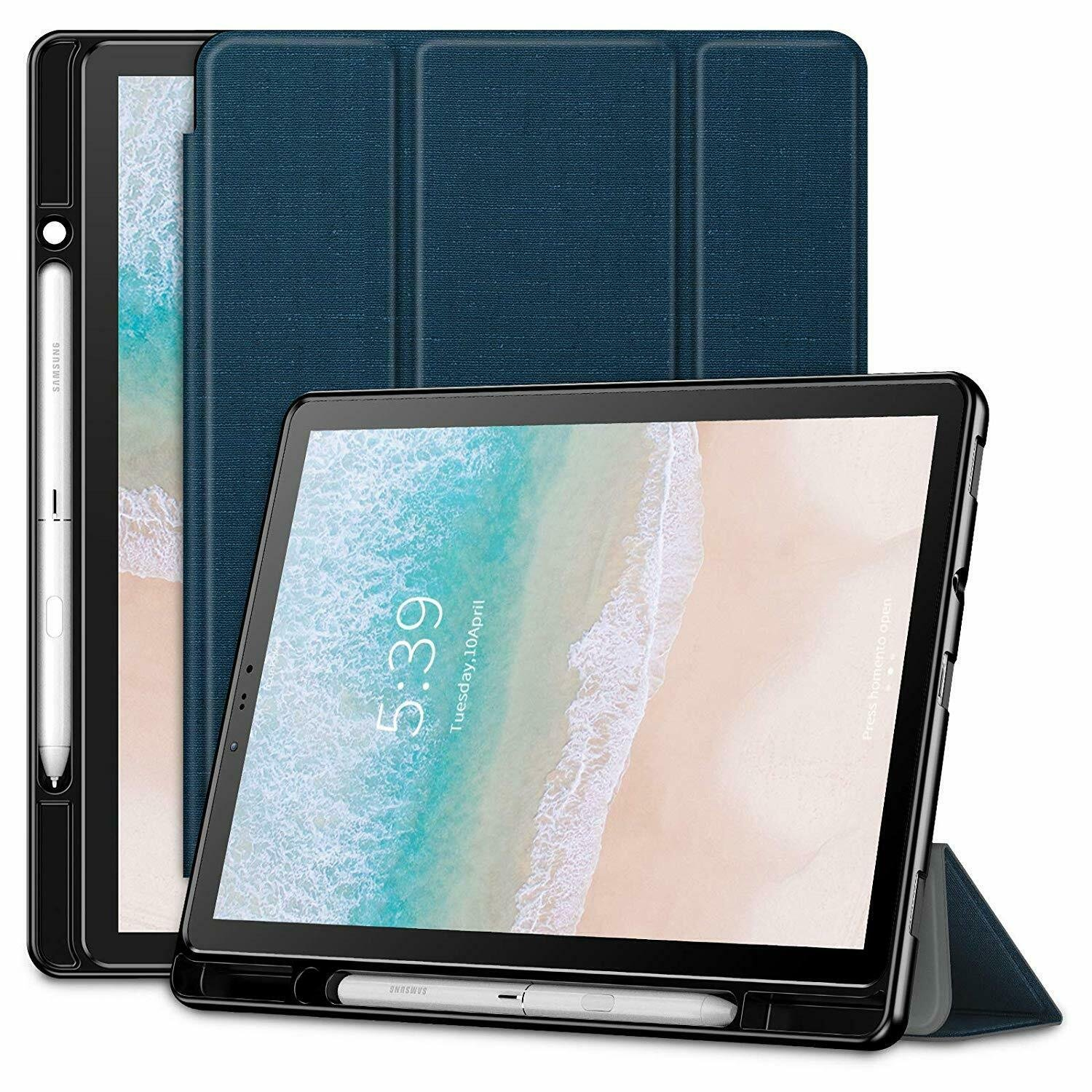 Samsung Galaxy Tab S4 Case Slim TriFold Cover Pen Holder Auto Wake Sleep  Navy