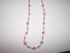 Pink Crackle Beaded Necklace