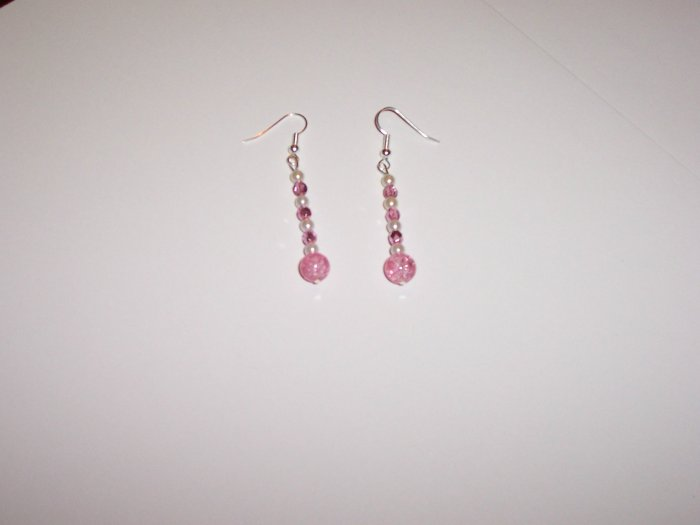Pink crackle beaded drop earrings